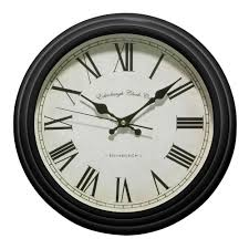 Country Kitchen Wall Clocks Premier Housewares Traditional Wall Clock Black Vintage Style