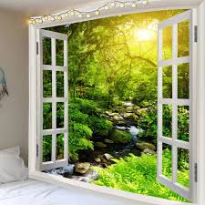 faux window sunlight forest streamlet wall hanging tapestry green w91 inch l71 inch