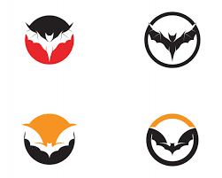 bat black logo template white background icons app premium vector