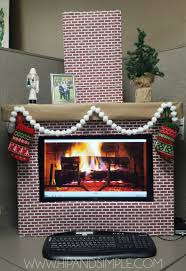 faux cardboard fireplace mantel for home or office computer screen cover with free brick