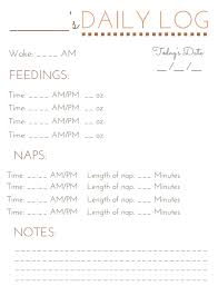 Printable Baby Schedule Chart 39 Accurate Baby Care Log Pdf
