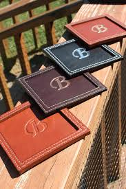 square embossed leather coasters by hilltopleather on etsy
