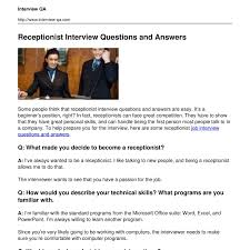 another word for receptionist receptionist interview questions and answers pdf docdroid