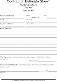 Quote Form Template Buildingcontractor Co