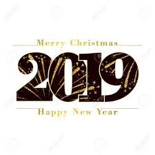 Happy New Year Merry Christmas Card Black Number 2019 Gold