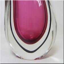 mandruzzato pink dark blue organic murano glass vase based on a design by flavio