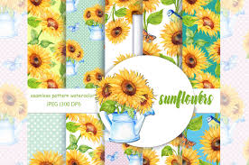 Sunflower Pattern Custom Watercolor Digital PaperSunflower Patt Design Bundles