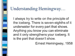 the old man and the sea by ernest hemingway author background understanding hemingway i always try to write on the principle of the iceberg
