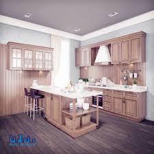 China Classic White Bench Top Oak Wood Kitchen Cabinets China