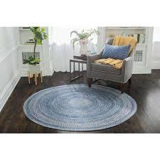 round blue area rug epona braided 8 ft round blue area rug