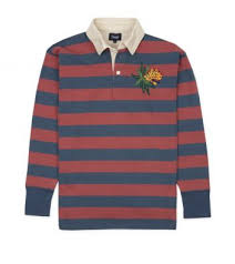 red and blue stripe embroidered tiger rugby shirt