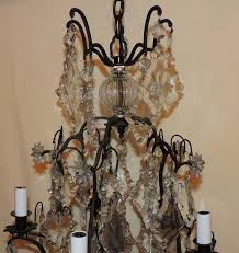 belle Époque charming french patinated bronze crystal five light chandelier bird cage fixture for