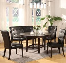 Traditional Dining Room Furniture With Round Dark Brown Wooden