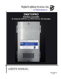 Dmxtopro Interface User Manual Cdr Manualzz Com