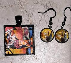 Graphic Square Jewelry Pendant and dangle earrings sets | Etsy