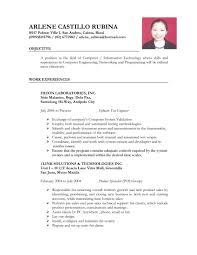 Resume Work Experience Ojt Resume For Study