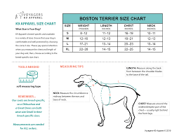 Boston Terrier Size Guide Voyagers K9 Apparel
