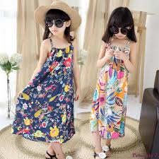 Us 13 99 30 Off Retail Girls Flower Printed Beach Dress Summer Style 2019 Kids Girls Long Bohemian Dress Children Girls Maxi Dress Slip Dress In