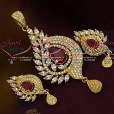 ps10496 ad marquise stones simple stylish design ruby white colour imitation pendant set