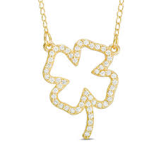 t w diamond four leaf clover outline necklace in 10k gold