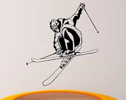 skiing wall stickers extreme sports home decor skiing ski wall vinyl decal skier speed wall sticker extreme winter sp