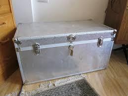 large vintage metal trunk gag trunks aluminium clad retro box chest flight case coffee table