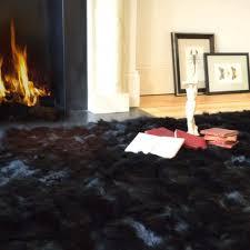 black sheepskin rug. Ink Black Shearling Rug 120cm X 150cm Sheepskin