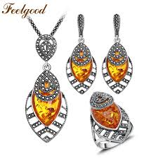 feelgood big long leaf pendant necklace set jewelry russia vintage silver color jewellery sets for women wedding party gift