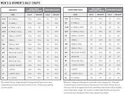 Ariat Grasmere Size Chart Ariat Concord Half Chaps