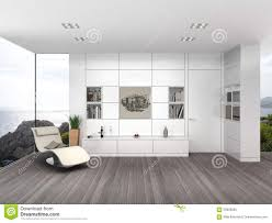 Living Room With White Walls Modern Living Room With White Wall Boarding Stock Illustration