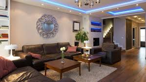 cool lighting ideas. living room with blue inceiling lighting and small recessed lights cool ideas