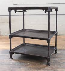 three tier cast iron vintage industrial side table bar cart with adjule shelves and
