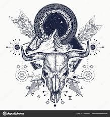 Hory A Bison Lebka Tetování A Tričko Design Stock Vektor Intueri