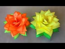 Paper Flower Folding Paper Flowers Rose Diy Tutorial Easy For Children Origami
