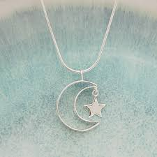 indivijewels personalised silver secret message moon and star necklace front view