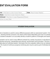 Student Self Evaluation Form | Cvfree.pro