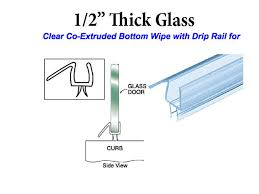 co extruded bottom wipe with drip rail for 1 2 inch glass clear shower door bottom seal