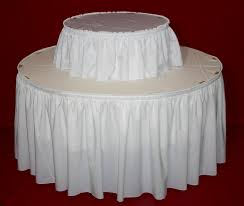 multi level display table with linens round