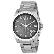 armani exchange grey dial stainless steel men s watch ax2092