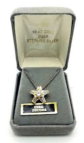 18k gold sterling silver cubic zirconia star pendant necklace nos vintage