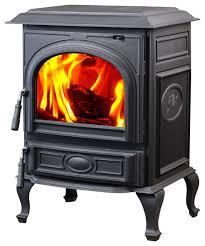 top vent cast iron wood burning stove black