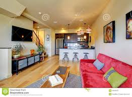 Yellow And Red Kitchen Yellow Living Room Ith Red Sofa And Kitchen Royalty Free Stock