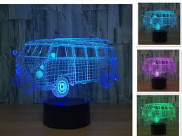 motorcycle sport car bus train 3d illusion lamp 3d led night light