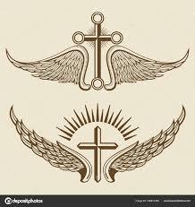 Vintage Kříž A Křídla Vektorové Prvky Stock Vektor Microone