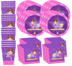 Gymnastics Birthday Party Decorations Amazoncom Gymnastics Star Birthday Party Supplies Set Plates