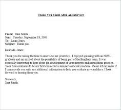 Examples Of Thank You Emails Example Thank You Interview Emails Platte Sunga Zette