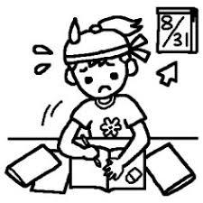 宿題白黒夏休みの無料イラストミニカットクリップアート素材