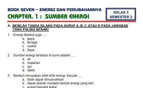 Kelas 3 tiga sd tema 6 enam energi dan perubahannya jenis dokumen power point ppt jumlah. Soal Tematik Kelas 3 Tema 6 Energi Dan Perubahannya Subtema 2 Perubahan Energi Cute766