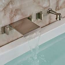 brushed nickel brushed nickel wall mount waterfall faucet