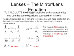 12 lenses the mirror lens equation to calculate